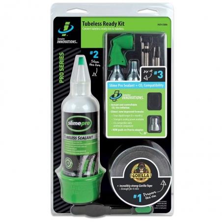 Ремкомплект для бескамерных покрышек (Герметик уплотнительная лента балон СО2(2шт) клапан для СО2 ) Slime