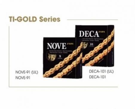 Цепь TAYA NOVE-91DHT Ti-Gold 1/2x5/64,116L, 9ск.