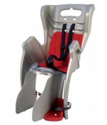 Сиденье задн. Bellelli LITTLE DUCK Сlamp (на багажник) до 22кг, серое с красной подкладкой